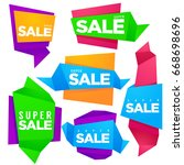 origami paper super sale banners | Shutterstock .eps vector #668698696