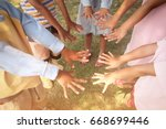 group of happy kids with  their ... | Shutterstock . vector #668699446
