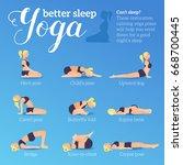 yoga poses for better sleep....   Shutterstock .eps vector #668700445