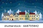 flat winter cityscape. snowy... | Shutterstock .eps vector #668705842