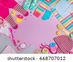 baby accessories background ... | Shutterstock . vector #668707012