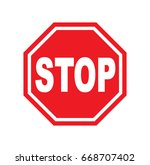red stop sign isolated on white ... | Shutterstock .eps vector #668707402