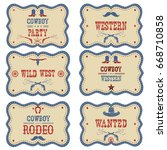 cowboy labels isolated on white.... | Shutterstock . vector #668710858