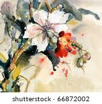 painting of bright orchid in... | Shutterstock . vector #66872002