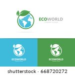 earth and leaf logo combination.... | Shutterstock . vector #668720272