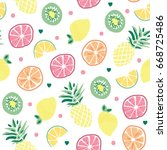 seamless fruits pattern ... | Shutterstock .eps vector #668725486
