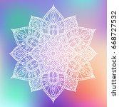 white flower hand drawn mandala ... | Shutterstock .eps vector #668727532