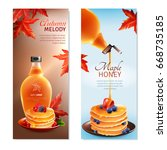 maple syrup horizontal banners... | Shutterstock .eps vector #668735185