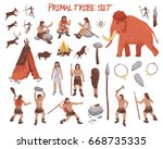 primal tribe people icons set... | Shutterstock .eps vector #668735335