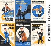 colored musician poster banner...   Shutterstock .eps vector #668736892