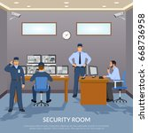 security room with officers... | Shutterstock .eps vector #668736958