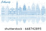 outline antwerp skyline with... | Shutterstock .eps vector #668742895