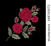 Red Roses. Embroidered Flowers...
