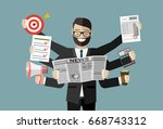 happy businessman with many... | Shutterstock .eps vector #668743312