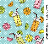 seamless with glasses of juice... | Shutterstock .eps vector #668782996