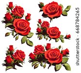 Stock vector cards with red roses background positive spring illustrations 668784265