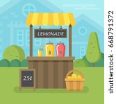 lemonade stand flat illustration | Shutterstock .eps vector #668791372