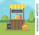 lemonade stand flat illustration | Shutterstock .eps vector #668791372