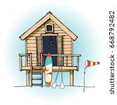 colorful beach hut vector. ... | Shutterstock .eps vector #668792482