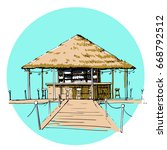 Colorful Beach Hut Vector. ...