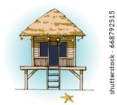 colorful beach hut vector. ... | Shutterstock .eps vector #668792515