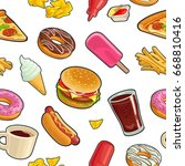 seamless pattern fast food. cup ... | Shutterstock .eps vector #668810416