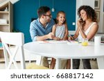 father and mother teach... | Shutterstock . vector #668817142