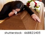 people and mourning concept  ... | Shutterstock . vector #668821405