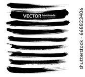 abstract black ink brush long... | Shutterstock .eps vector #668823406