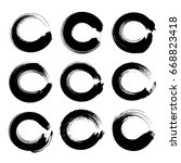 black circle textured ink... | Shutterstock .eps vector #668823418