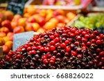 beautiful ripe cherries  | Shutterstock . vector #668826022