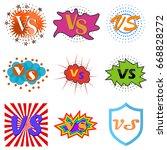 versus or vs confrontation...   Shutterstock .eps vector #668828272
