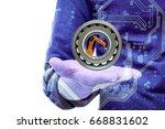 spherical roller bearing and...   Shutterstock . vector #668831602