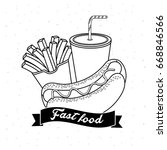 tasty fries french and hot dog... | Shutterstock .eps vector #668846566
