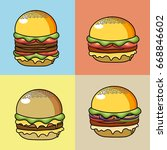 set deicious hamburger fast food | Shutterstock .eps vector #668846602