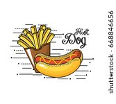 tasty fries french and hot dog | Shutterstock .eps vector #668846656