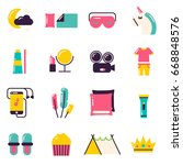 slumber party icons. pajama... | Shutterstock .eps vector #668848576