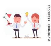 illustration with funny clerk.... | Shutterstock .eps vector #668857738