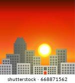 city at sunset. evening city.... | Shutterstock .eps vector #668871562