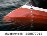 metric draft marks on a ship | Shutterstock . vector #668877016