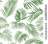 seamless hand drawn tropical... | Shutterstock .eps vector #668885866