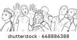 illustration of festival crowd... | Shutterstock .eps vector #668886388