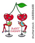 cherry girl twins drinking... | Shutterstock . vector #668886688