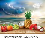 tropical fruits on the wood on... | Shutterstock .eps vector #668892778