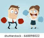 woman boxing against man | Shutterstock .eps vector #668898022