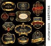 retro vector gold frames on... | Shutterstock .eps vector #66890566