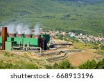 geothermal power station near... | Shutterstock . vector #668913196