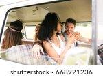 hippie friends having fun in a...   Shutterstock . vector #668921236