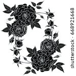 seamless floral pattern with... | Shutterstock . vector #668921668