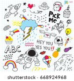 set of colorful doodle on paper ...   Shutterstock . vector #668924968